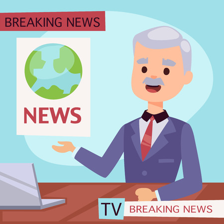 Vector Illustration anchorman breaking news and tv screen layout, professional interview people in TV studio newsreader, breaking news anchor. Communication broadcast newscaster anchor journalist. Illustration