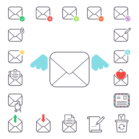 Email letter vector icons.