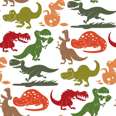 Dinosaurs vector dino animal tyrannosaurus t-rex danger creature force wild jurassic predator prehistoric extinct seamless pattern background illustration.