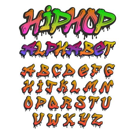 Graffity alphabet vector hand drawn grunge font paint symbol design ink style texture typeset  イラスト・ベクター素材