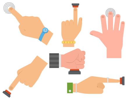 Hand press red button vector finger control start up arm push pointer cursor target gesture internet human body part illustration.