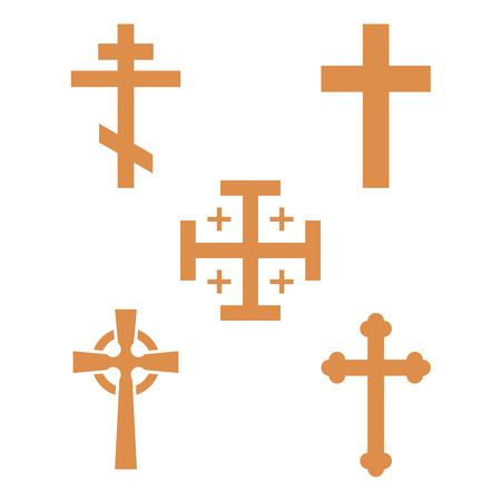 Christianity church cross religion vector religionism flat illustration of traditional holy sign silhouette praying religionary christian faith religionist priest church culture symbol. Imagens - 98752489