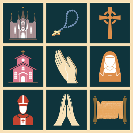 Christianity religion vector religionism flat illustration of traditional holy sign silhouette praying religionary christian faith religionist priest church traditional culture symbol. Foto de archivo - 98752490
