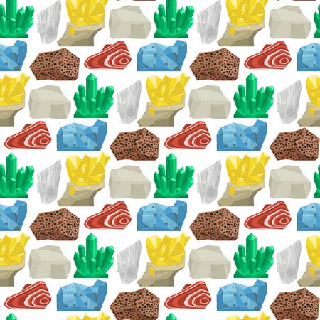 Las piedras preciosas semipreciosas vector las piedras y el fondo inconsútil del modelo de la piedra mineral corta la ilustración mineral cristalina brillante colorida de la joyería. Foto de archivo - 98752518