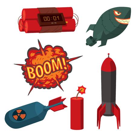 Bomb dynamite fuse vector illustration grenade attack power ball burning detonation explosion fire military destruction design aggression.