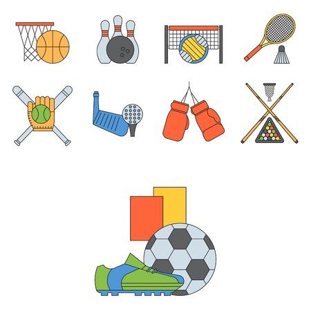 Set of sport vector icons in flat design line pictogram fitness sportsmen symbol game trophy competition dumbbell activity illustration. Basketball, football, hockey, golf Illustration