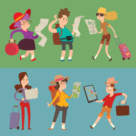 Traveler people searching right direction on map vector traveling freedom and active character lifestyle concept illustration. Illustration