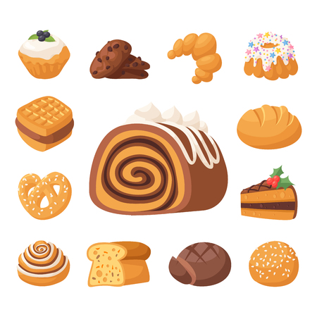 Cookie vector cakes tasty snack delicious chocolate homemade cookie pastry biscuit cakes sweet dessert bakery food illustration. Vector traditional gourmet sweet dessert bakery food Stock Vector - 98772649
