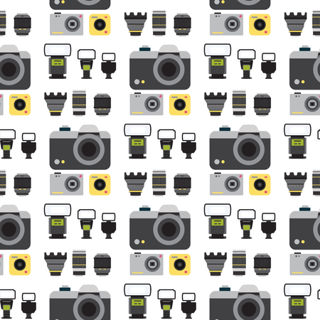 Camera photo vector studio flat optic lenses types objective retro photography equipment photography professional photographer look seamless pattern background illustration