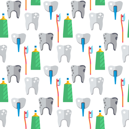 Dentist toothpaste medical tools health care medicine instrument stomatology implantation clinic seamless pattern background vector illustration.