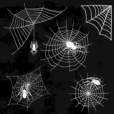 Spiders and spider web silhouette spooky nature halloween element vector cobweb decoration fear spooky net. Danger horror trap cobweb decoration.