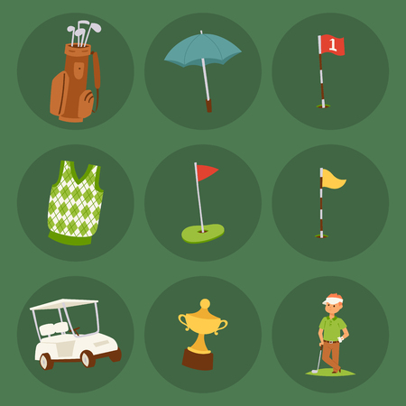 Golf player clothes and accessories golfing club male swing sport hobby equipment vector illustration.