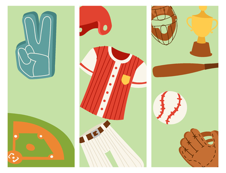 Baseball sport competition game team banner softball play cartoon icons design sporting equipment vector illustration