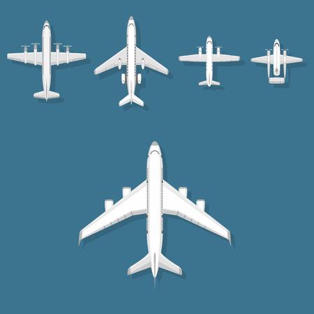 飛行機ベクトルイラストトップビュー平面と航空機輸送旅行方法設計路オブジェクト。  イラスト・ベクター素材