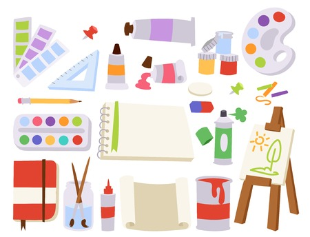 Collection of arts tools and equipment in colored illustration. Illustration
