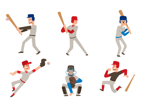 Baseball team player vector sport man in uniform game poses situation professional league sporty character winner illustration. Иллюстрация