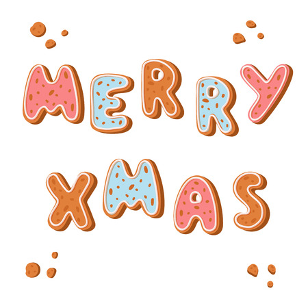 Merry Christmas gingerbread cookies vector holidays ginger cookie font text food biscuit xmas letter illustration