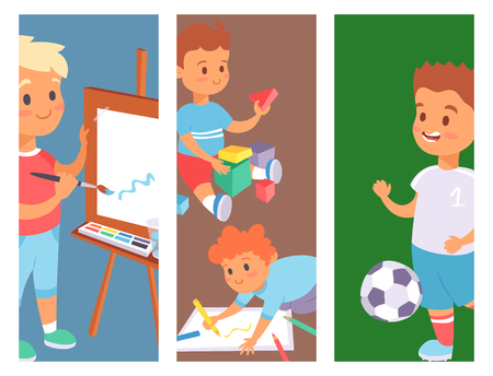 Children playing vector banner different types of home games little kids play summer outdoor active leisure childhood activity.
