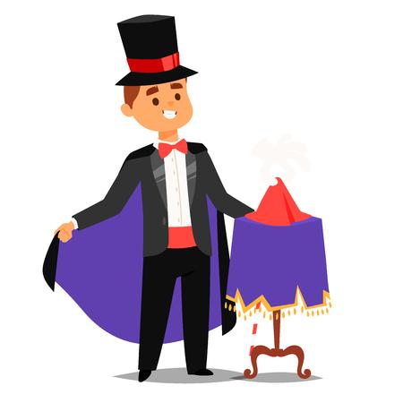 Mago prestidigitador ilusionista trucos de carácter vectorial malabarista ilustración vectorial mago mágico espectáculo hombre de dibujos animados Ilustración de vector