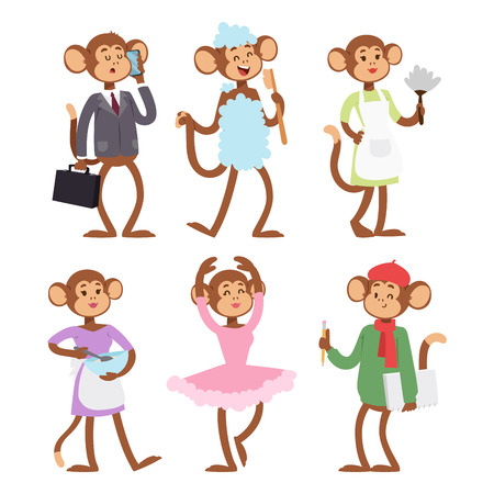 Monkeys rare animal vector cartoon set illustration. Ilustração