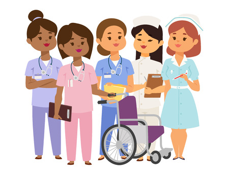 Doctor nurse character vector medical woman staff flat design. Hospital team people doctorate illustration. Stock Illustratie