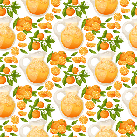 Oranges and orange products vector illustration natural citrus fruit vector juicy tropical dessert beauty organic juice healthy food seamless pattern background.  イラスト・ベクター素材