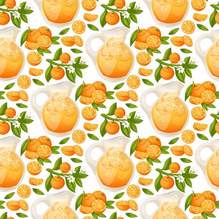 Sinaasappelen en oranje producten vector illustratie natuurlijke citrusvruchten vector sappige tropische dessert schoonheid organische sap gezond voedsel naadloze patroon achtergrond.