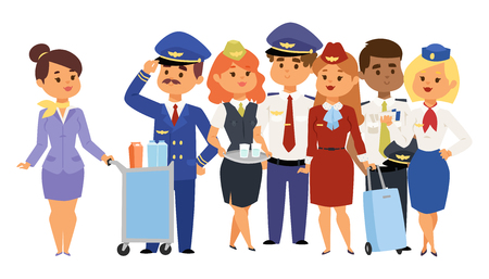 Pilots and stewardess vector illustration airline character plane personnel staff air hostess flight attendants people command. Vettoriali