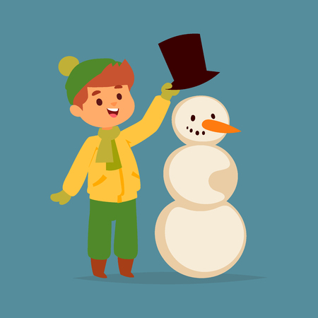 Christmas kid boy vector character playing winter games.