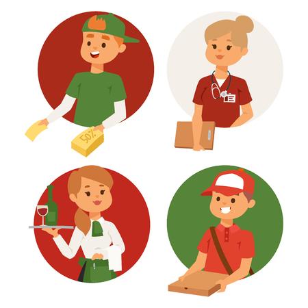 Mensen parttime baan beroepen vector set tekens tijdelijke baan werving concept. Verschillende werknemers of tijd werkloos. Jonge carrière start jongens en meisjes deeltijdwerkers kansen kijken Stockfoto - 99086709