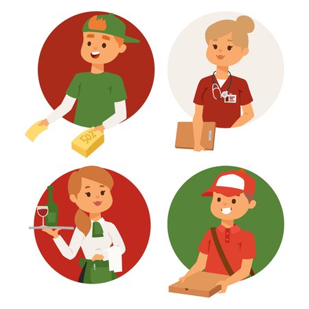 People part-time job professions vector set characters temporary job recruitment concept. Different workers or time unemployed. Young career start boys and girls part time workers opportunity looking Imagens - 99086709
