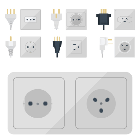 Electric plugs stack outlet illustration energy socket electrical outlets plugs european and usa and asia appliance interior icon. Wire cable cord plug-connection electrical outlets plugs double american.