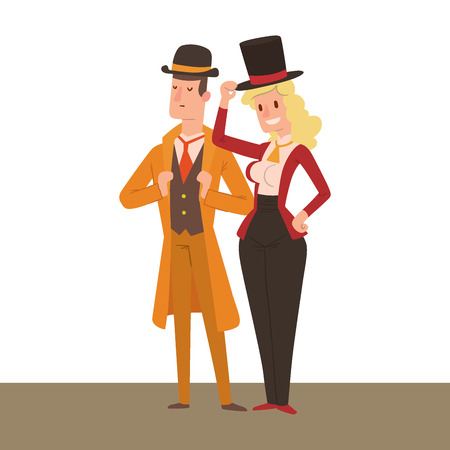 Vintage victorian cartoon gents retro people vector. Style fashion old people victorian gentleman clothing antique century character victorian gent people vintage wild west man and woman style Stock Photo