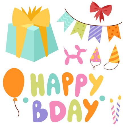Happy birthday party celebration entertainment confetti present balloon decoration for holiday fun anniversary congratulation vector illustration.