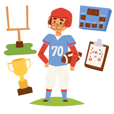 American football player action sport athlete uniform sporty people success playing tools vector illustration