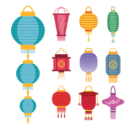 Chinese lantern light paper holiday celebrate asian graphic celebration lamp vector illustration. Illustration