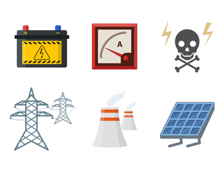 Energy electricity vector power icons battery illustration industrial electrician voltage electricity factory safety socket technology 版權商用圖片 - 99323598