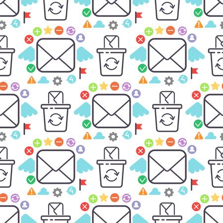 Sobre de correo electrónico cubierta comunicación oficina correspondencia correspondencia diseño de esquema en blanco. Foto de archivo - 99324065