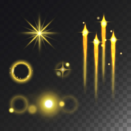 Glowing vector lights effect and stars effect glow blur stars glowing isolated on dark transparent background illustration.