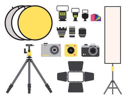 Camera photo vector studio icons optic lenses types objective retro photography equipment professional photographer look illustration