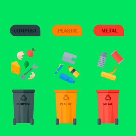 Recycling garbage elements concept and waste ecology can bottle recycling disposal box.