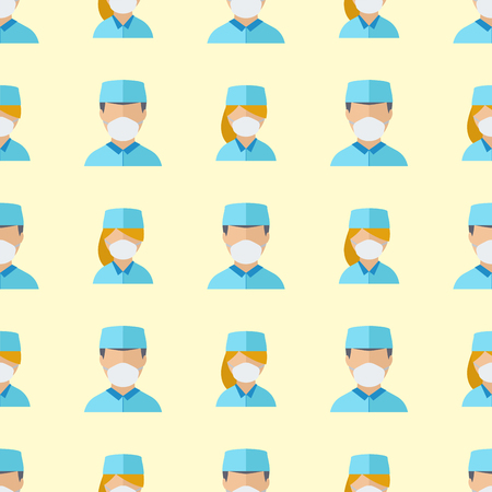 Doctors profession charactsers seamless pattern background vector medical people Illustration