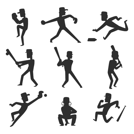 Baseball team player vector sport man silhouette in uniform game poses situation professional league sporty character winner illustration. Youth boy competition adult athlete person.