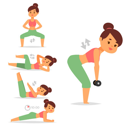 Woman home workout vector exercising at home fitness character workout, healthy living and diet concept illustration. Sportswear girl attractive weight person training.