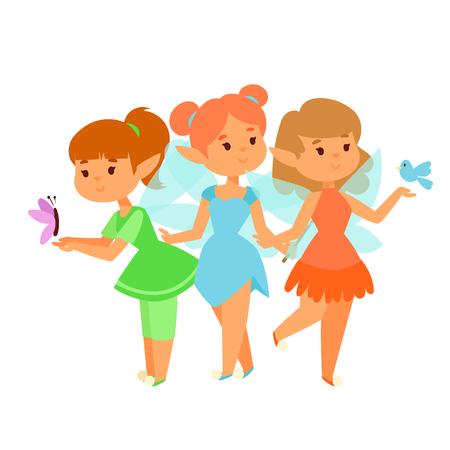 Fairies princess fairy girl vector character cute beautiful style cartoon little fairyland fashion costume magic fantasy dress fairytale crown kid. Happy sweet fairy teenage with wings. Illustration