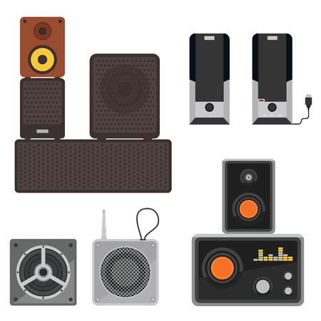 Acoustic sound system stereo flat vector music loudspeakers player receiver subwoofer remote equipment technology illustration. Professional media acoustic system entertainment tool. Иллюстрация