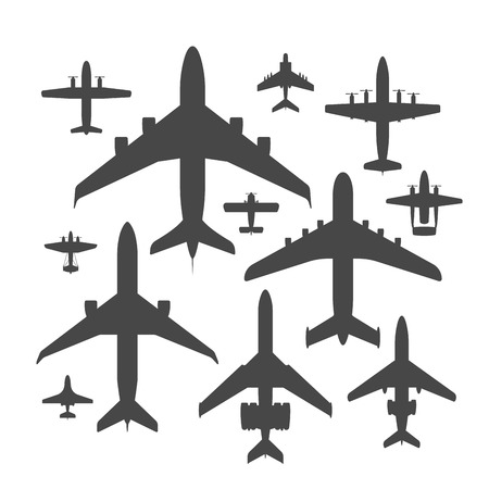 Airplane silhouette vector illustration plane top view passenger trip and aircraft transportation travel way to vacation sky design journey international plane . Commercial tour speed aviation. Stock fotó - 99457874