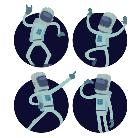 Astronaut in space vector character having fun spaceman galaxy cosmos atmosphere system fantasy traveler man. Gravity floating astronautics journey suit astronomy astronaut character.