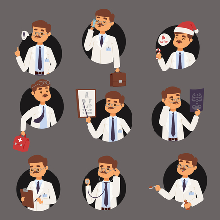 Doctor nurse character vector medical man staff flat design hospital team people doctorate illustration Flat style different doctor character. Professional cartoon medical human worker.