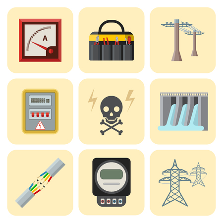 Energy electricity vector power icons battery illustration industrial electrician voltage electricity factory safety socket technology